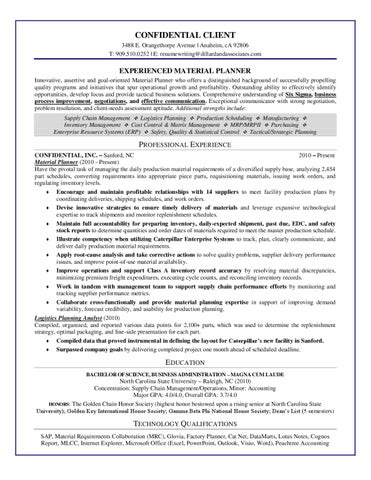 Sample Resume-Experienced Material Planner by Dillard  Associates