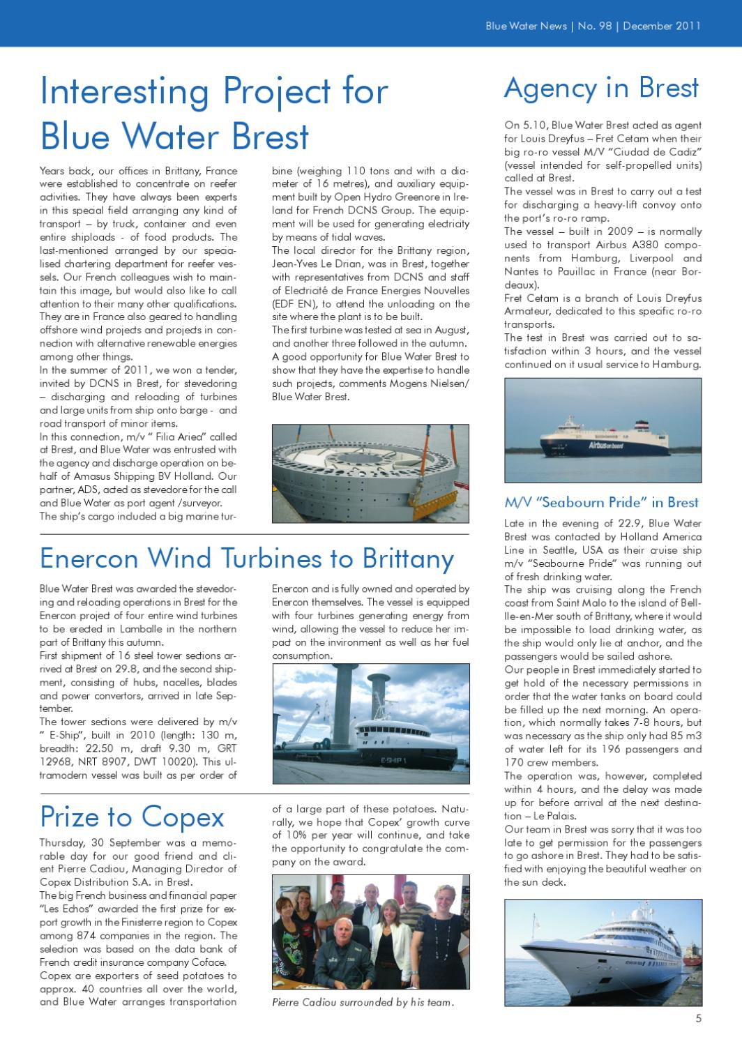 Location Nacelle Brest News December 2011 Uk By Blue Water Shipping Issuu