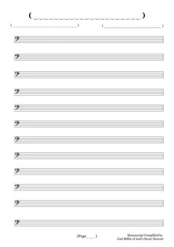 Blank Bass Manuscript Paper by Joel\u0027s Score Heaven - issuu