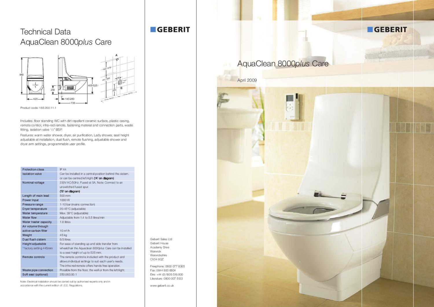 Aquaclean 8000plus Geberit Aquaclean 8000 Plus Care Brochure By Abacus Healthcare Issuu