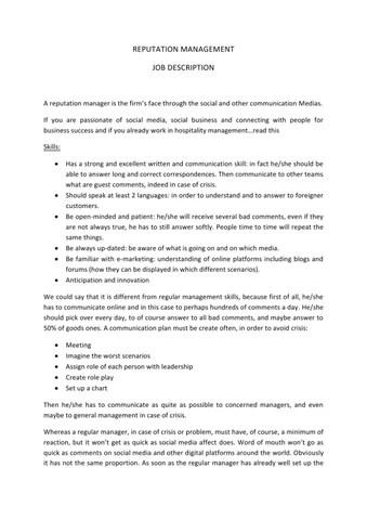 Reputation Management Job description by Camille Squillari - issuu - management job description