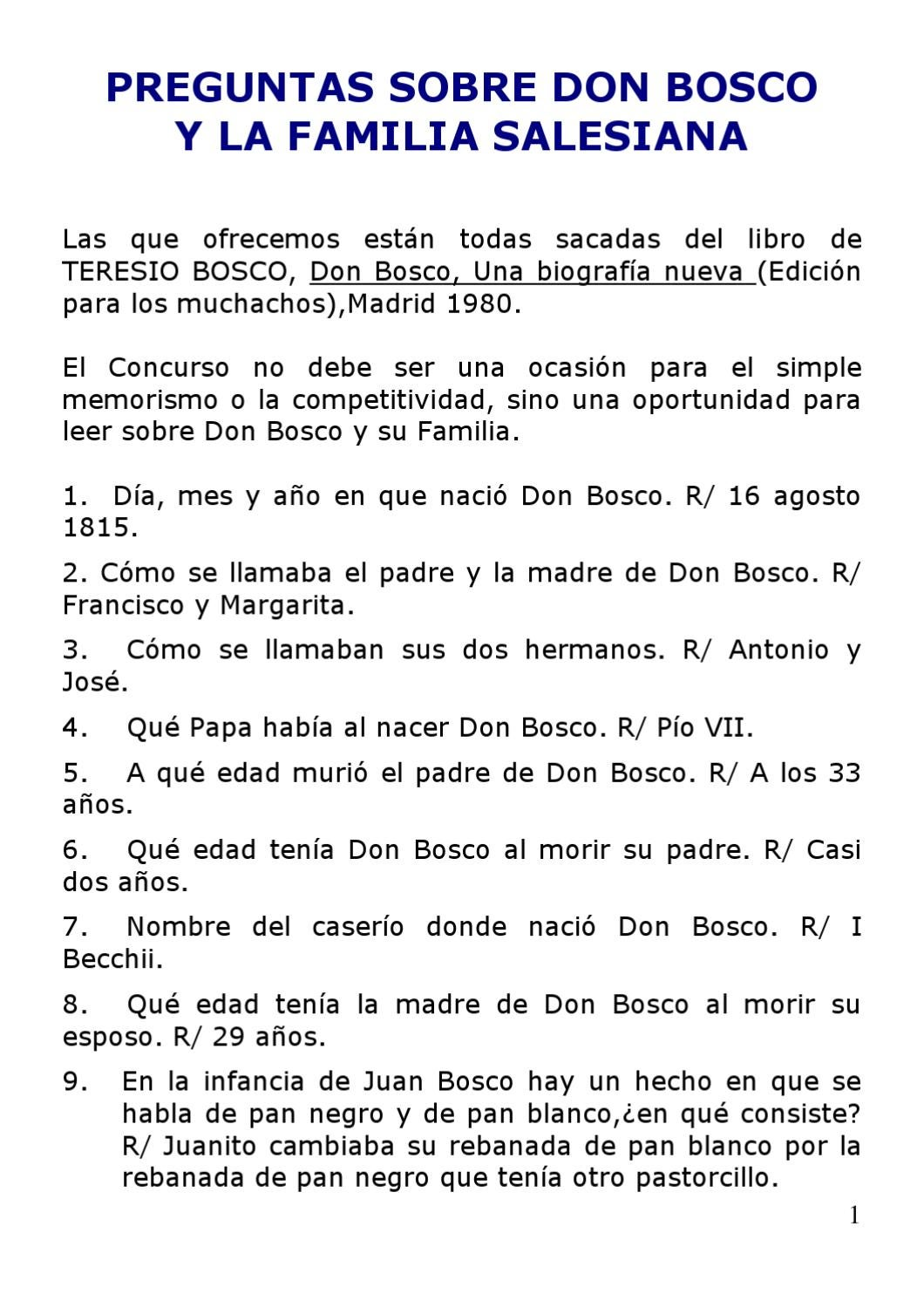 Libros De Don Bosco Cuestionario De Don Bosco By Escoge Don Rúa Issuu