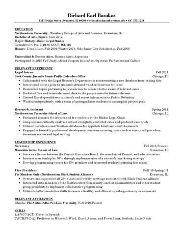 Sample law resume by Northwestern University Career Services - issuu