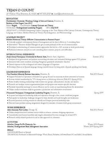 Liberal Arts Resume by Northwestern University Career Services - issuu
