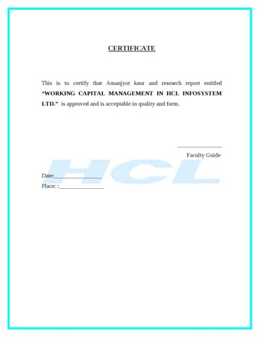 Working Capital HCL by Sanjay Gupta - issuu - working capital equation