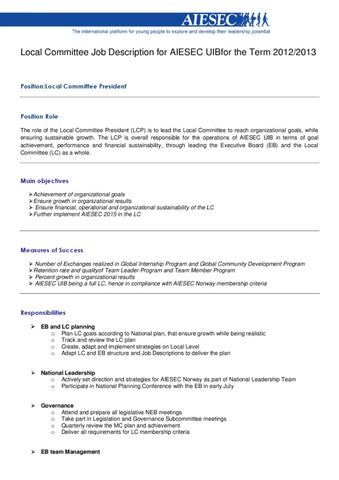 Job Description Local Committee President AIESEC UiB 2012-13 by