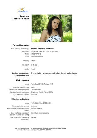 Cv Resume Example Executive Chef Acesta Jobinfo Cv English By Hatidzhe Mestanova Issuu