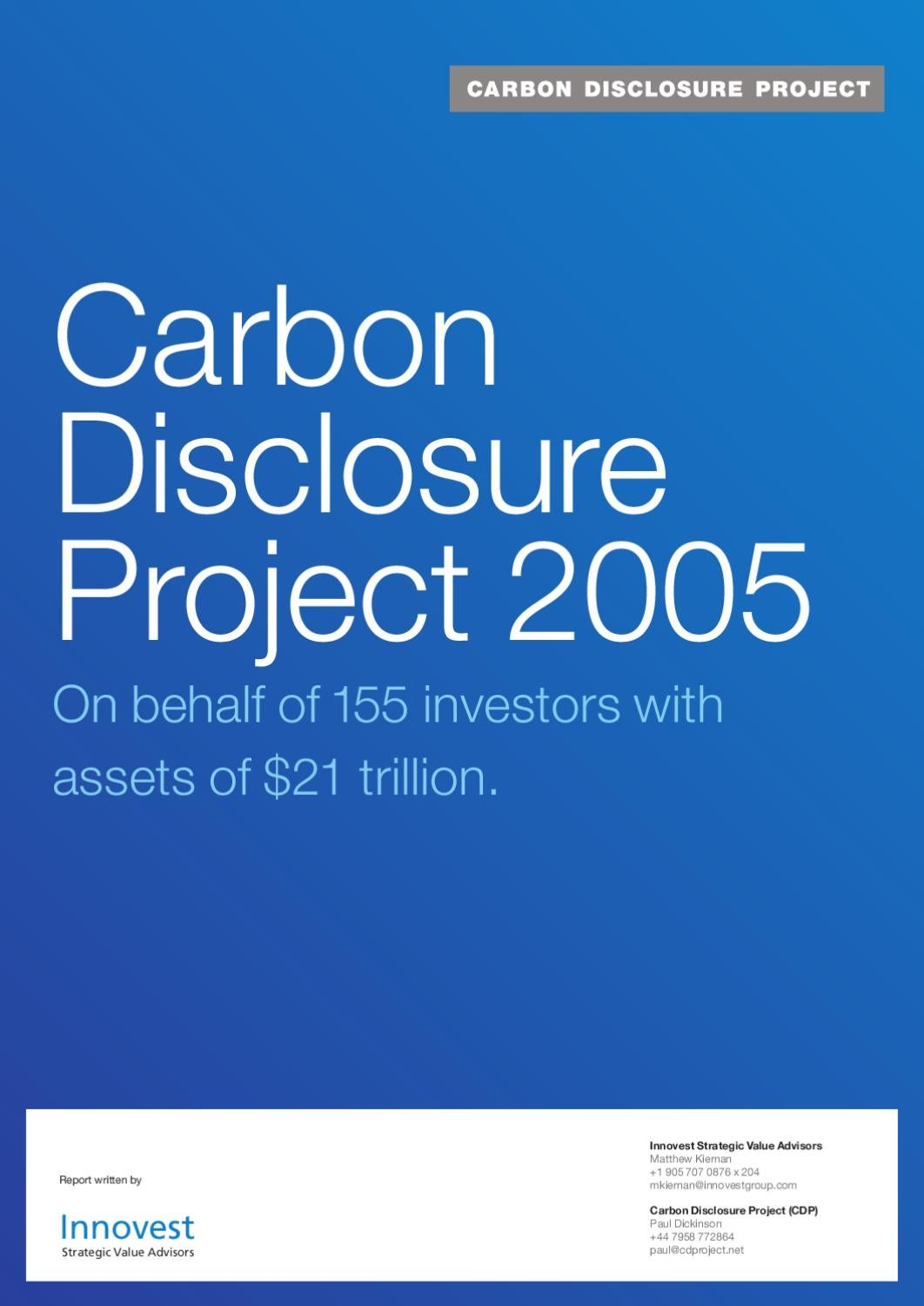 Cash Pool Hypovereinsbank Carbon Disclosure Project 2005 By Esmee Fairbairn Foundation Issuu