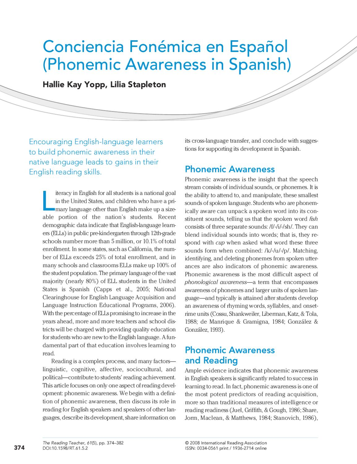 Palabras Que Rimen Con Libro Phonemic Awareness In Spanish By Jkglobal Connections Issuu