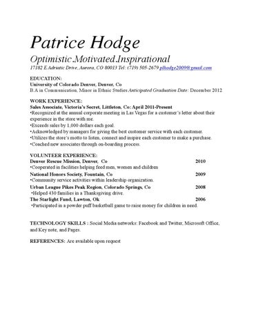 Resume by PATRICE HOGE - issuu