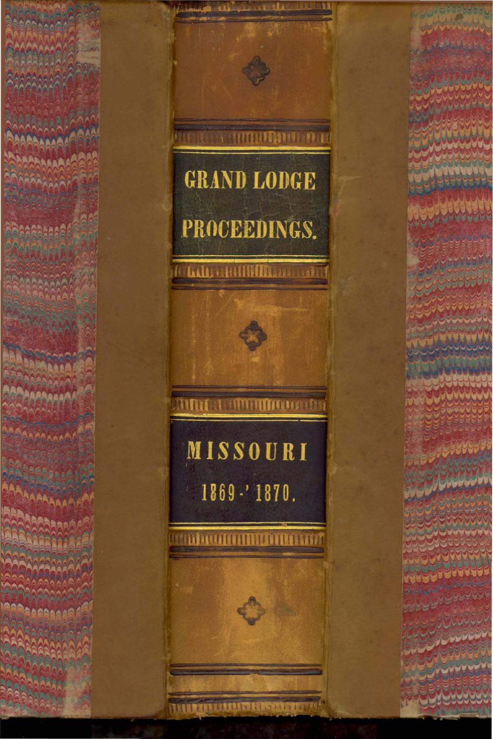 Fischer Haworth Sessel 1869 Proceedings Grand Lodge Of Missouri Volume 2