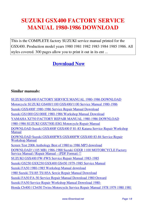 suzuki gs1000 gs1000e 1980 1986 workshop manual download