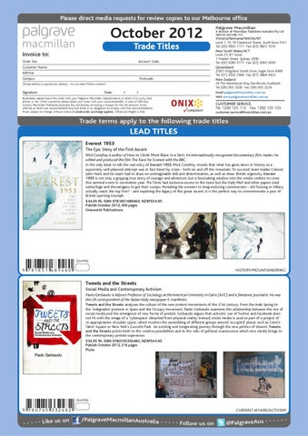 Palgrave Macmillan October 2012 Trade Catalogue by Palgrave