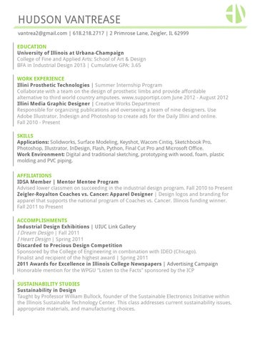 Industrial Design Resume and Portfolio by Hudson Vantrease - issuu