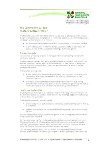 Community Garden management plan template by Community Gardens - issuu