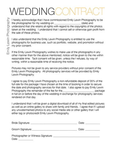 Wedding Photography Contract PDF by Emily Lewin Photography - issuu