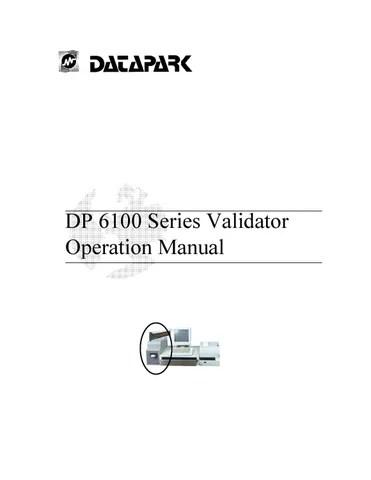 Datapark DP 6100 Series Validator Operation Manual by Sertek - operation manual