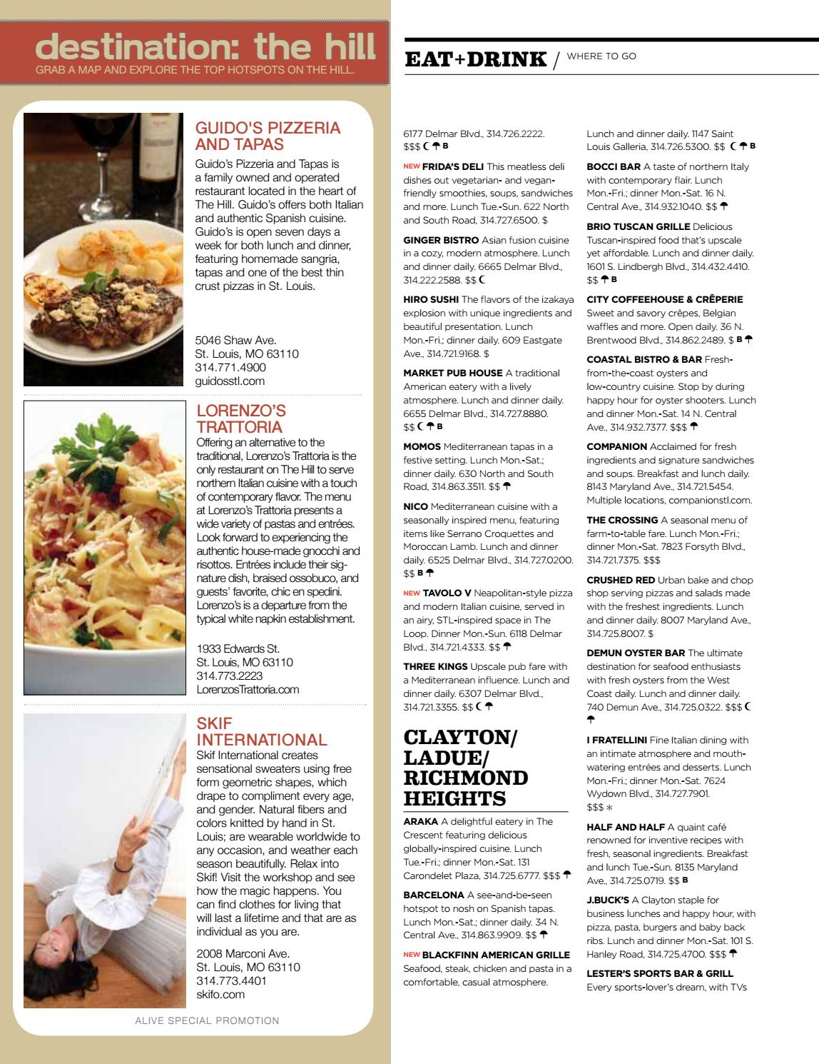 Tavolo V Delmar Menu Alive Magazine October 2012