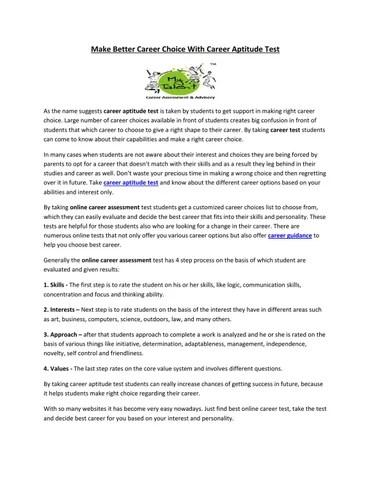 career aptitude test by Rohit Sehgal - issuu - career aptitude test