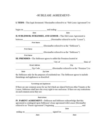 sublease agreement form nyc - Solidclique27
