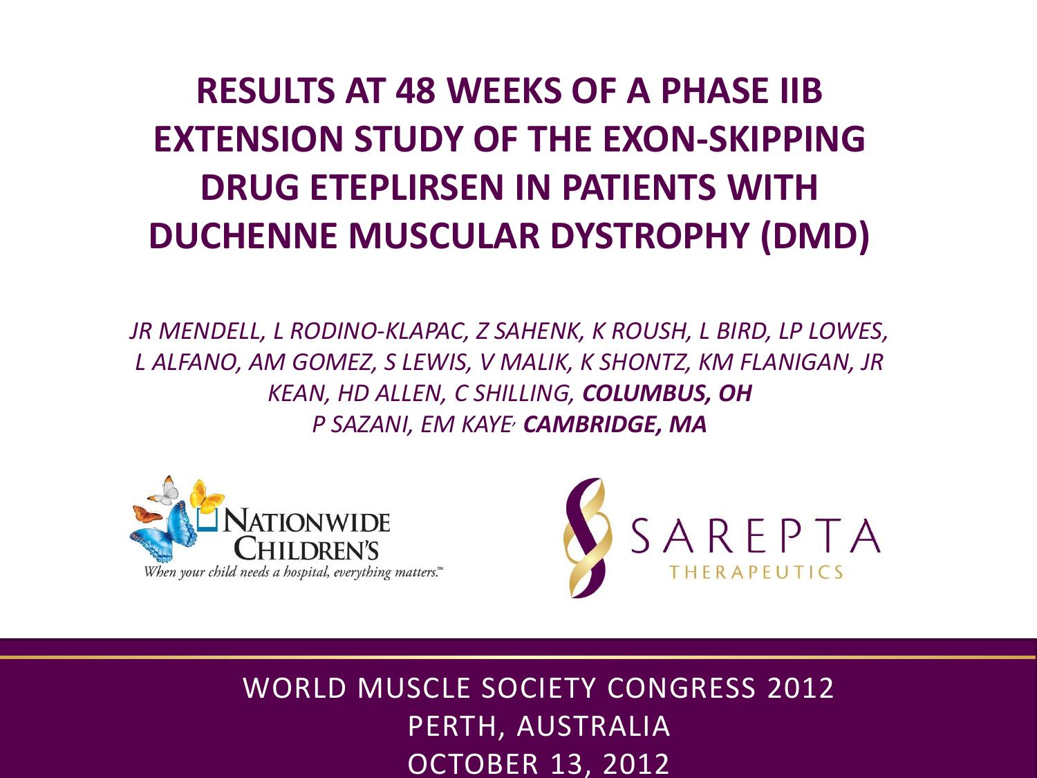 Duchenne Muscular Dystrophy Death Statistics Full 48 Week Phase Iib Data From Eteplirsen Study In