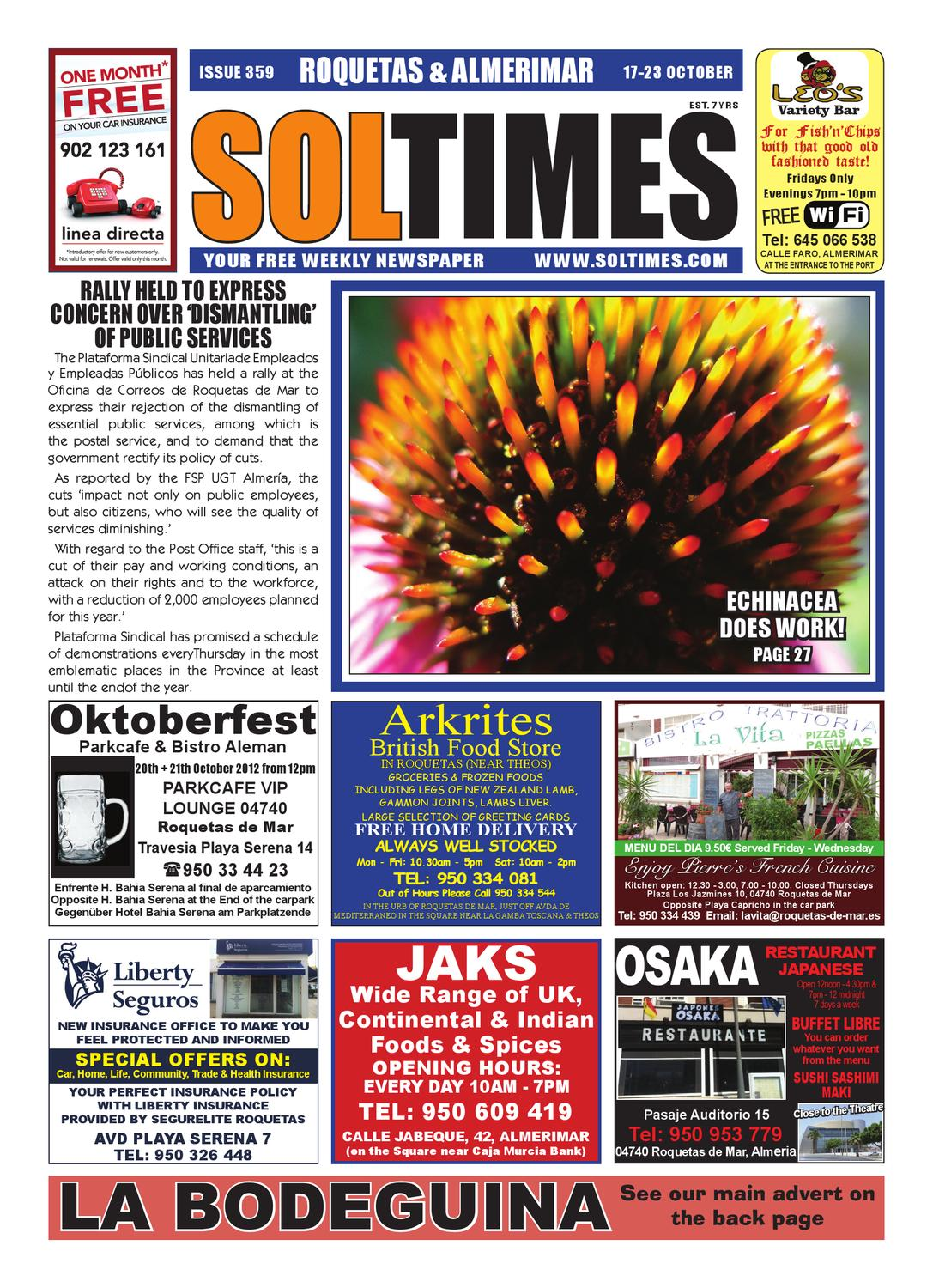 Buffet Libre Granada Kinepolis Sol Times Newspaper Issue 359 Roquetas Edition By Nigel