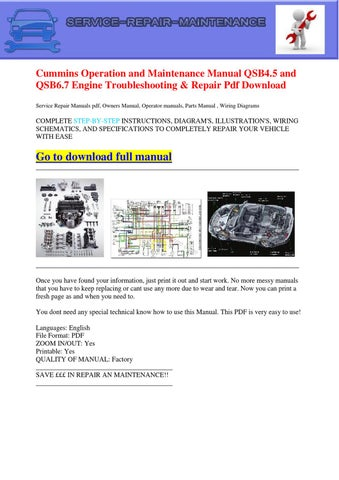 Cummins Operation and Maintenance Manual QSB45 and QSB67 Engine