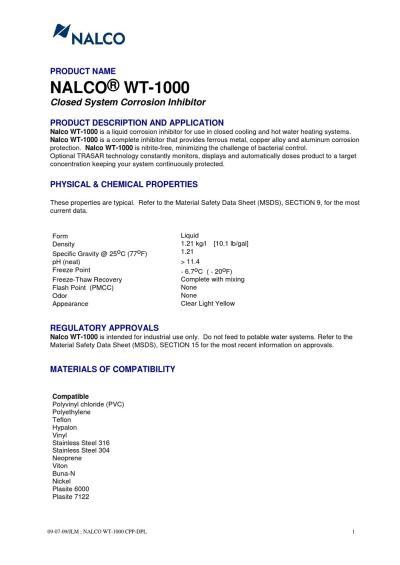 NALCO WT-1000 by Tasapro Ltd - Issuu