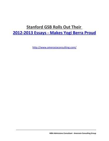 Stanford GSB Rolls Out Their 2012-2013 Essays - Makes Yogi Berra
