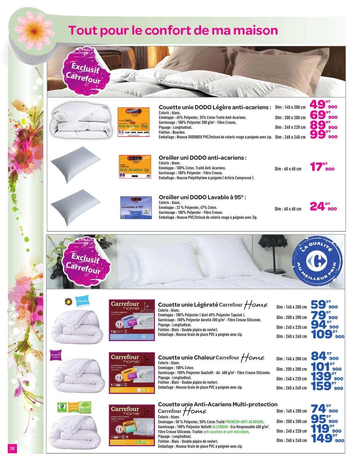 Couette Legere 100 G M2 Catalogue Carrefour - Des Prix Foot By Carrefour Tunisie