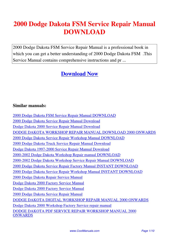 dodge dakota service repair workshop manual 2000 onwards