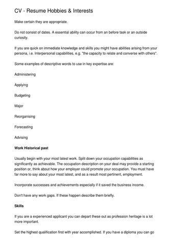 CV - Resume Hobbies amp; Interests by Riyad Barr - issuu - Resume Hobbies And Interests