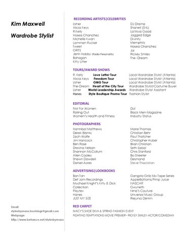 KIM MAXWELL FASHION STYLIST/WARDROBE STYLIST RESUME by Kim Maxwell