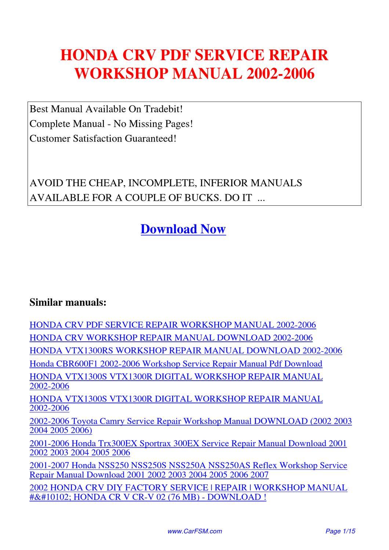 honda crv service repair workshop manual 2002