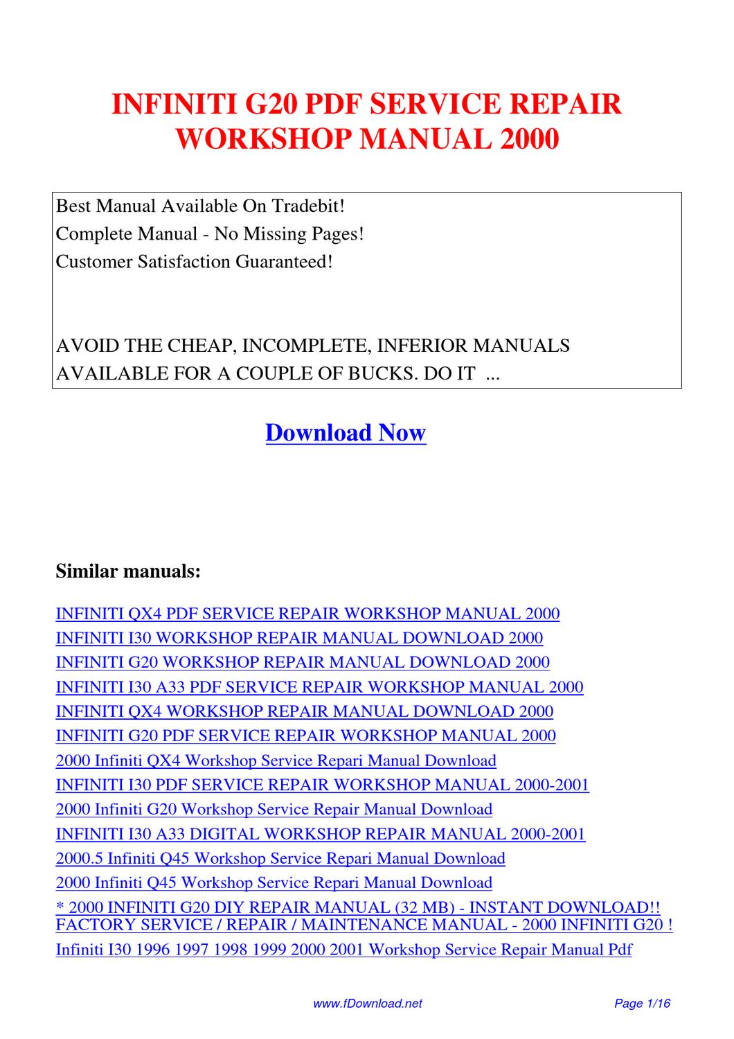 Service Manual Owners 2012 Infiniti G Auto Electrical G20 Repair Workshop 2000 By Fu