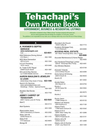 Tehachapi\u0027s Own Phone Book 2013 White Pages by Tehachapi News - issuu - business phone book