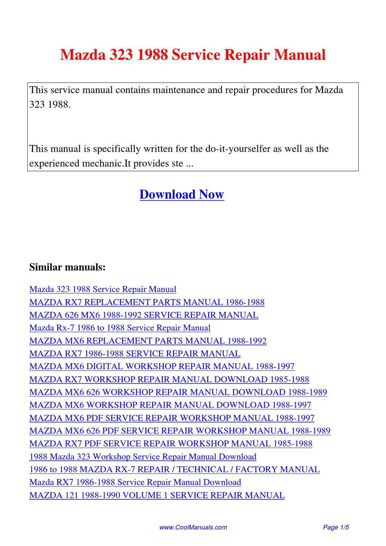 mazda 323 1985 1989 workshop service manual repair