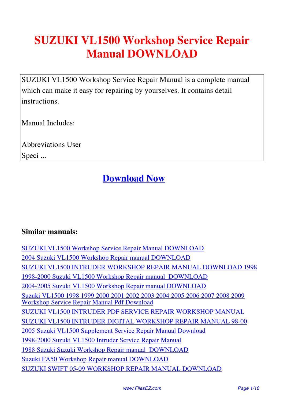 2004 2005 suzuki vl1500 workshop repair manual download