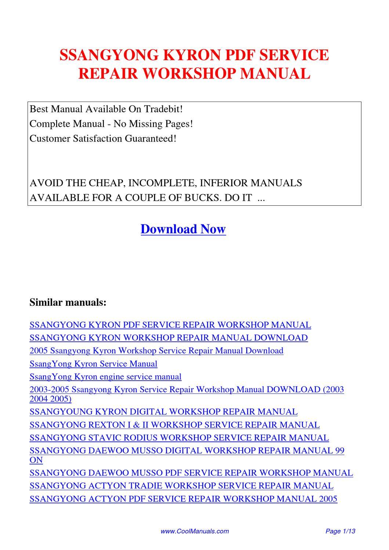 ssangyoung kyron digital workshop repair manual