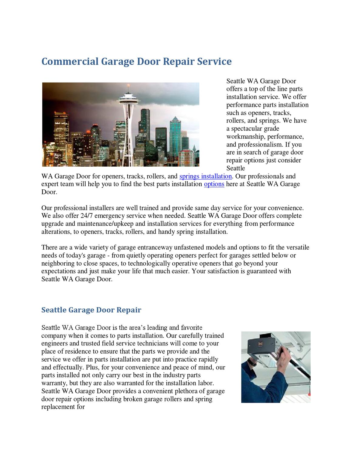Garage Door Parts Seattle Seattle Garage Door Repair By Ronei Daselva Issuu