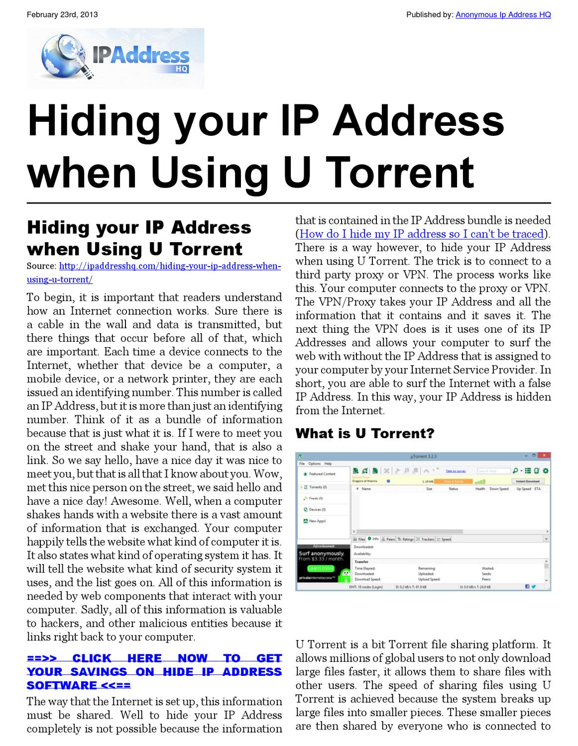 Your Ip Hiding Your Ip Address When Using U Torrent By Joe Karl