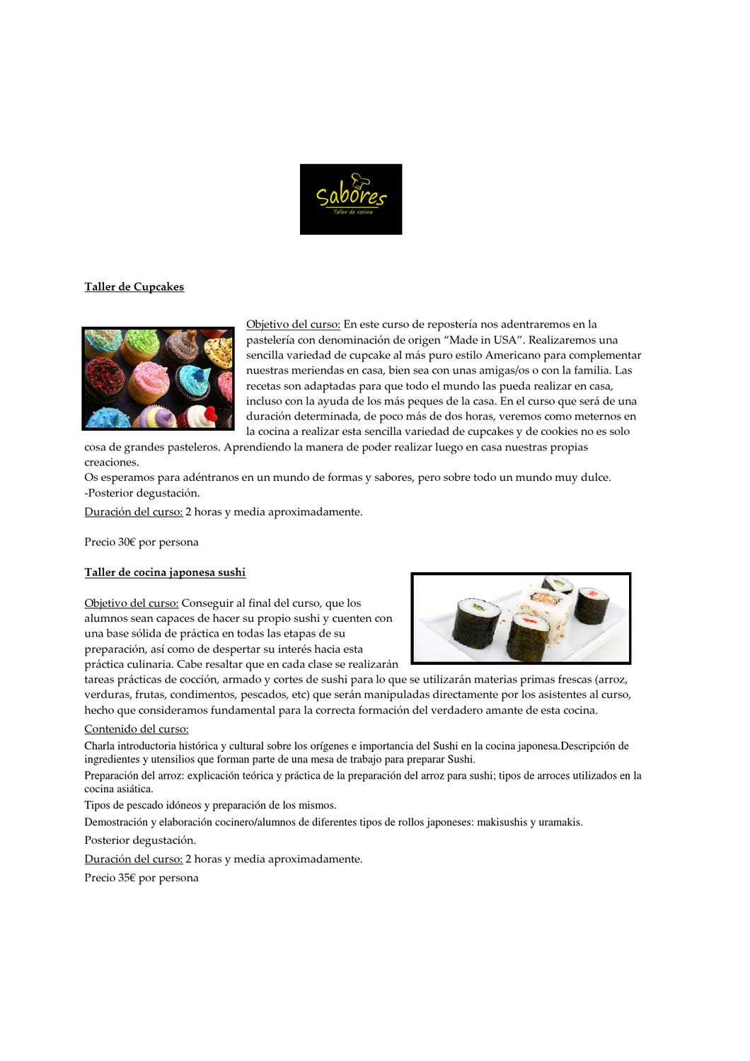 Sabores Taller De Cocina Sabores Taller De Cocina By Sabores Taller Issuu