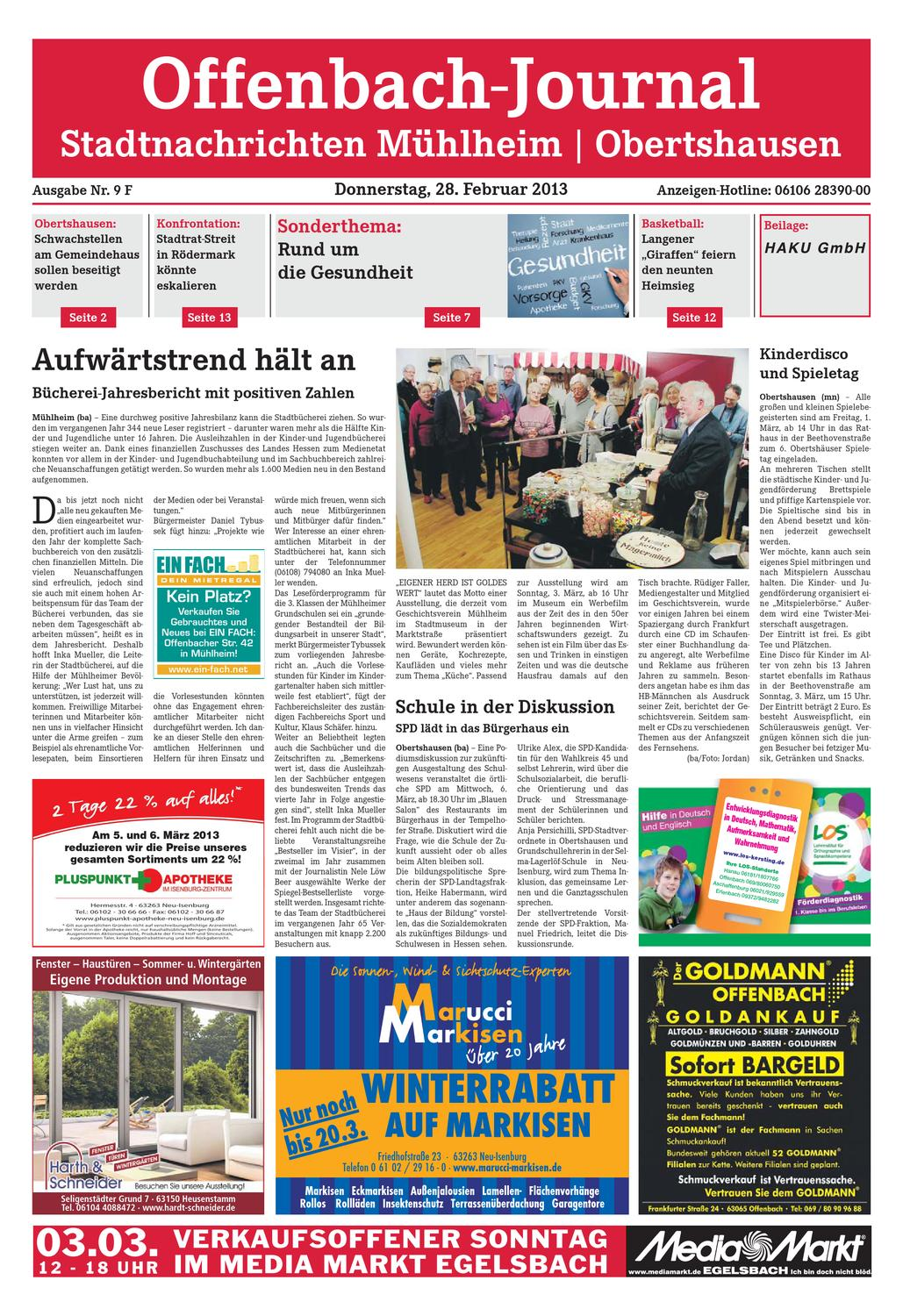 Dz Online 009 13 F By Dreieich Zeitung Offenbach Journal Issuu