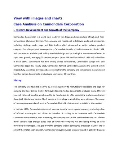 Case Analysis on Cannondale Corporation by regan rose - issuu - Case Analysis