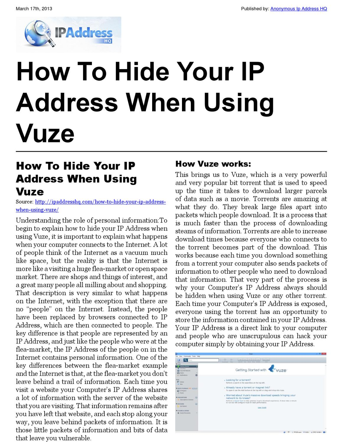 Your Ip How To Hide Your Ip Address When Using Vuze By Joe Karl