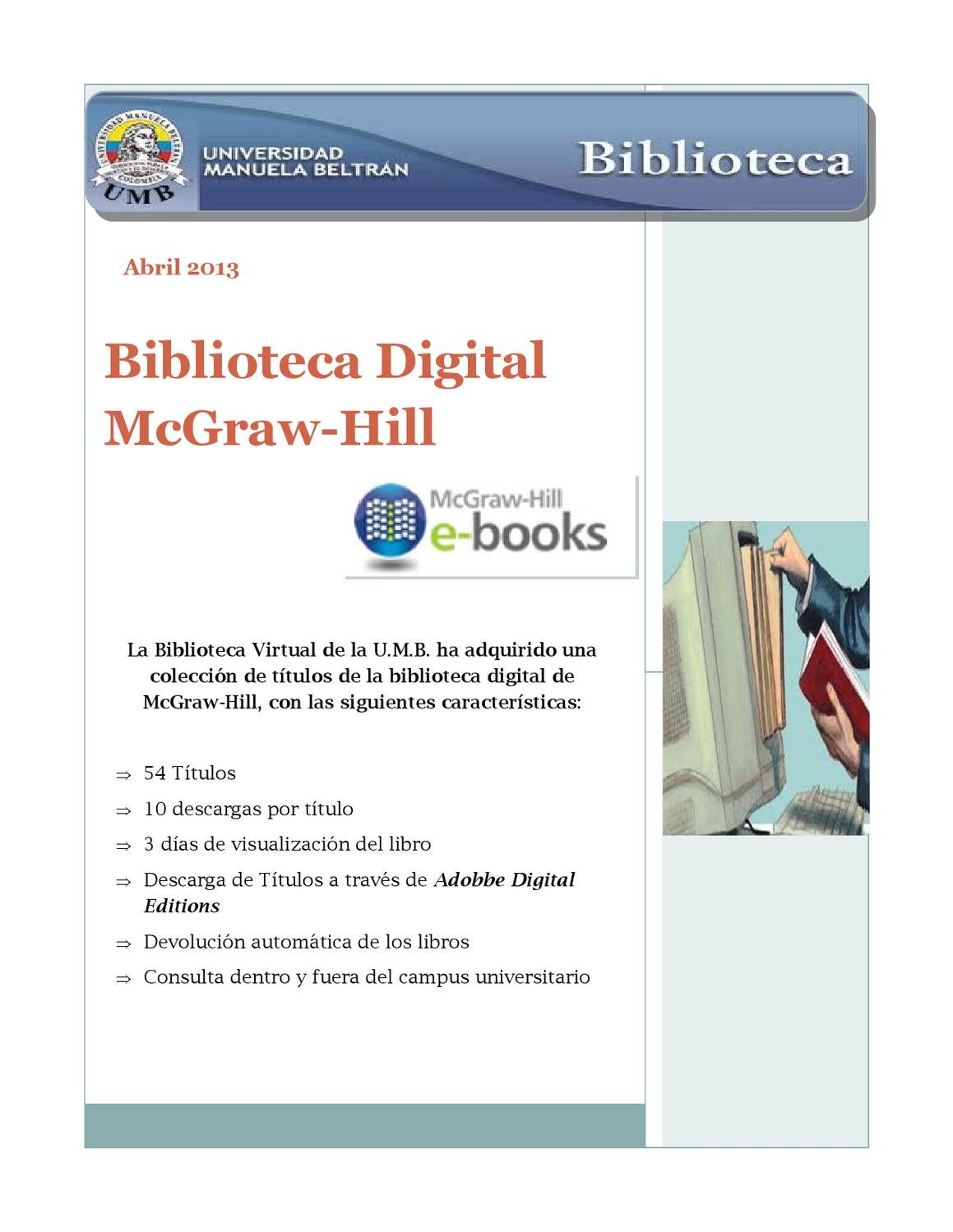 Libros De Mcgraw Hill Boletín Biblioteca Digital Mcgraw Hill By Biblioteca