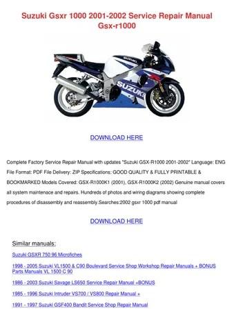 Suzuki Gsxr 1000 2001 2002 Service Repair Man by Barbera Cutten - issuu