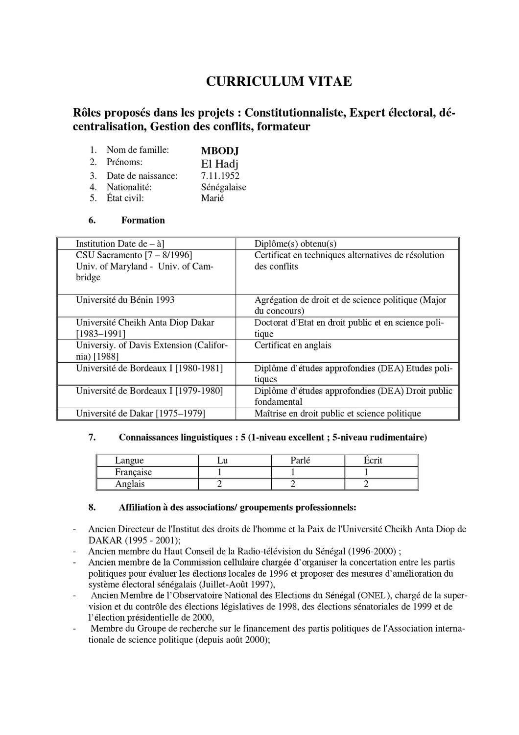 agregation cv anglais