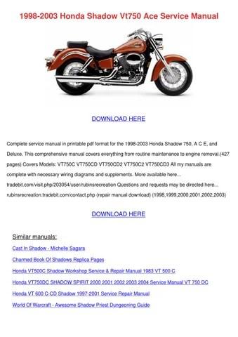 1998 2003 Honda Shadow Vt750 Ace Service Manu by Tennie Simone - issuu