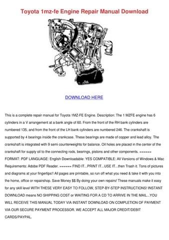 Toyota 1mz Fe Engine Repair Manual Download by Meghan Capehart - issuu